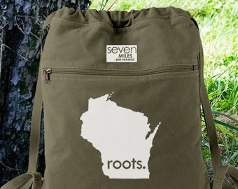 Wisconsin WI Roots Canvas Backpack Cinch Sack
