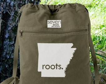 Arkansas AR Roots Canvas Backpack Cinch Sack