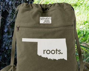Oklahoma OK Roots Canvas Backpack Cinch Sack