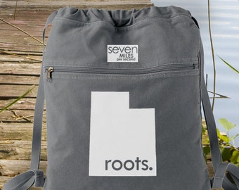 Utah UT Roots Canvas Backpack Cinch Sack