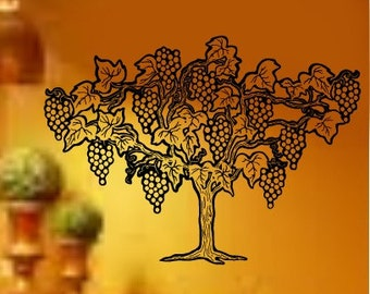 Italy Grape Tree Kitchen Vinyl Wall Graphics Decals LARGE 33W x 22h
