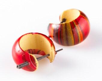 """Fake Gauge Earrings - Resin Saddle Earrings Fake Piercing - Painted Resin Earrings """"Mars Moons"""""""
