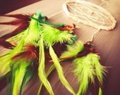 Dream Catcher - Green Light - With RAW CITRINE Gemstone Amulet Pendant and Green and Brown Feathers - Home Decor, Mobile