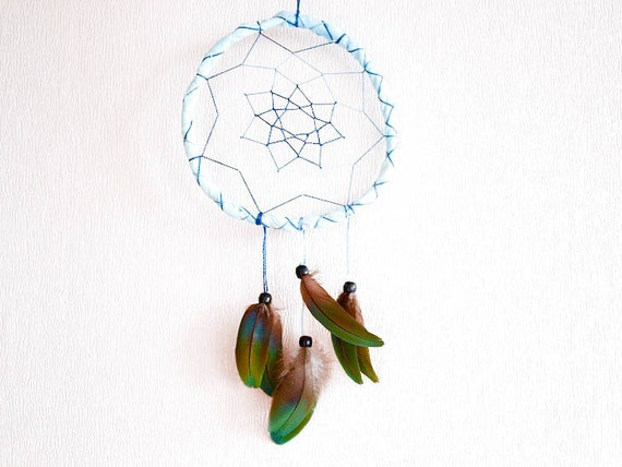 Dream Catcher - Magic Colours - With Exotic Green and Turquoise Parrot Feathers, Light Blue Frame and Blue Nett - Home Decor, Mobile