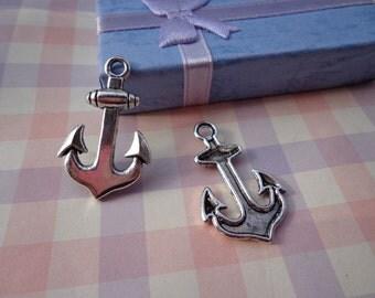 50PCS 33x20mm Lovely Anchor Charm Pendant --Antique Silver