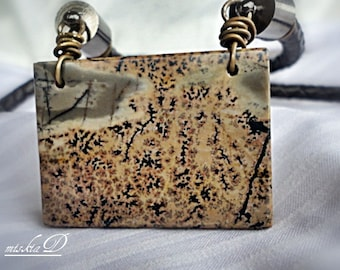 Mens Leather Necklace , CONNECT WITH ANGEL, Landscape Jasper Pendant , Chinese Painting Jasper, Mens Jewelry
