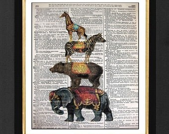 """Circus Stack """" The  Big Show""""ORIGINAL ARTWORK Mixed Media art print on 8x10 Vintage Dictionary page, Dictionary art, Dictionary print"""