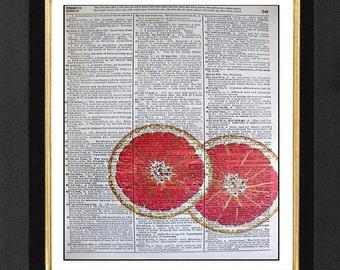 Pink Grapefruit Print, Fruit Paintings,Size 8x10 Vintage Dictionary Art Print Pages, Grapefruit Art Picture, Pink Grapefruit Paintings