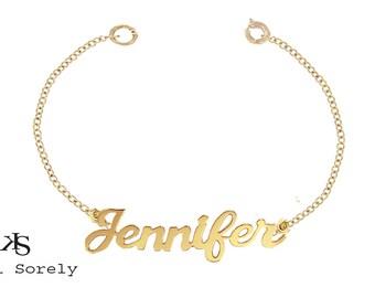 10K, 14K or 18K  Solid Gold Designer Name Bracelet or Anklet (Order Any Name) - Yellow, White or Rose Gold