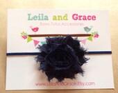Navy Blue Shabby Chic Chiffon Headband- Baby  Headband,Toddler Headband, Newborn Headband