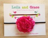 Hot Pink & Black Polka Dot Shabby Chic Flower Headband- Baby Headband, Toddler Headband, Newborn Headband