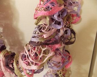 Lace Ruffle Scarf - Starbella Birthday Cake- beautiful and LONG, ruffle scarf, lace scarf, knit scarf, knit lace (SC19)