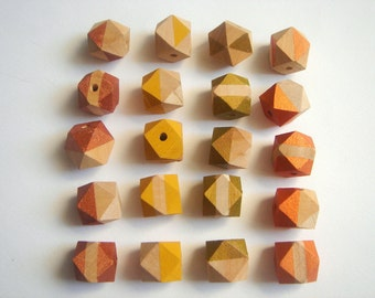 Hand painted Autumn Colors  Geometric Natural Wood Beads,Do it Yourself Geometric necklace