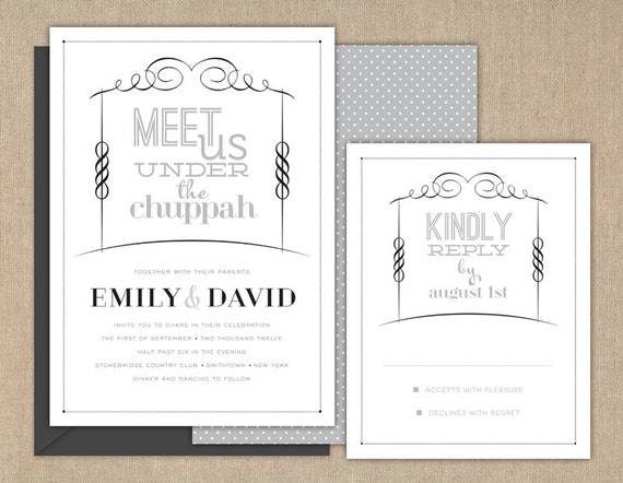 Items Similar To Wedding Invitations / Jewish Wedding Invitation / Meet Us  Under The Chuppah / DIY Printable On Etsy