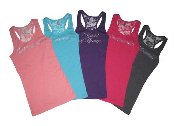 Bridesmaid Lace Tank Tops, Bridesmaid Shirts, Bride Shirt, Bride Tank Top, Lace Tank Top, Bachelorette Party Shirts, Bachelorette Party Tank