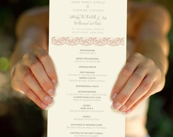 Sweet Love, Customized Wedding Program, Printable Program