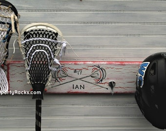 Lacrosse Lax Sport Wall Rack Stick Hooks Athletic Equipment Holder Display Station Team Colors Personalized Original Made to Order