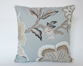 Designer Pillow Cover in Mineral Blue Hothouse Flower Schumacher Fabric