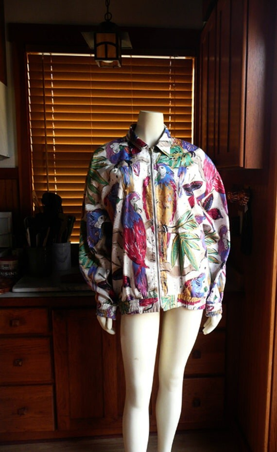 Vintage 80s 90s Bright Tropical Parrot Butterfly Slouchy Bomber Jacket L