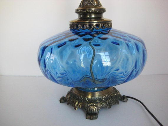vintage blue glass table lamp large glass lamp hollywood regency. Black Bedroom Furniture Sets. Home Design Ideas