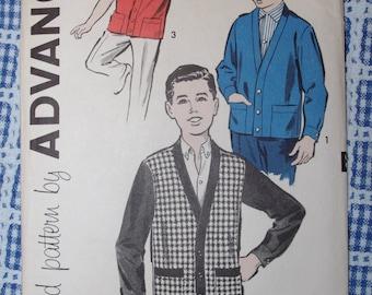 Vintage Pattern: Boys Cardigan Jacket Advance Pattern Sz 10 1950s Unused