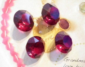 4 Vintage Glass 14mm Ruby Red Faceted Round Stones