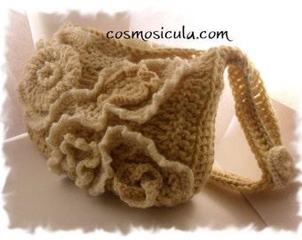 Free form crochet wool purse. Free shipping