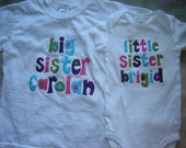 Custom Personalized Big Sister/Little Sister Shirt Combo