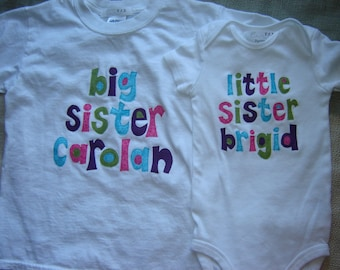 Custom Personalized Big Sister/Little Sister Shirt Combo