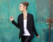 Black  Jacket,  open geometric top, A symmetrical top, Autumn jacket