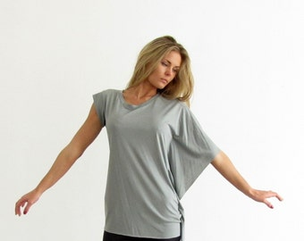 Asymmetrical  Shirt- Grey Shirt- one sleeve shirt- casual blouse