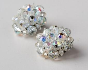Vintage Crystal Cluster Aurora Borealis Clip On Earrings