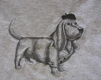 """Embroidered """"Basset Hound"""" Sketch Tshirt"""