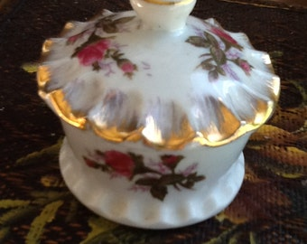 """Vintage Rose Box with Gold Scalloped Lid Ring Trinket Box """"Sale Price"""""""