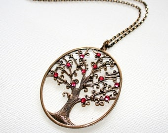 Tree Pendant Necklace with Swarovski Crystals