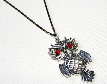 Wise Owl Pendant with Ruby Red Eyes in Sterling Silver