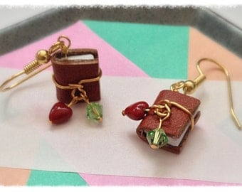 Miniature Book Earrings, Leather Bound With Peridot Swarovski Crystals and Surgical Steel Earwires - GE41