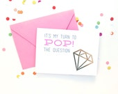 set of 3 - pop the question foil stamp cards - will you be my bridesmaid, flower girl, maid of honor - wedding party invite