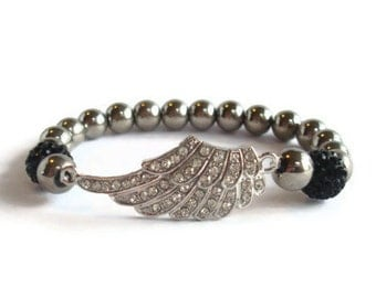 Rhinestone Angel Wing Stretch Beaded Bracelet