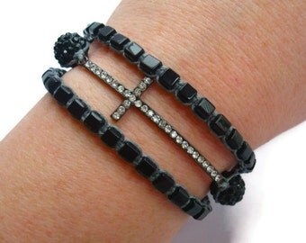 Black Bead Sideways Cross Wrap Bracelet
