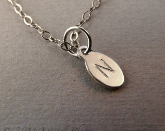 Personalize It - Tiny Stamped Initial, Sterling Silver oval 5x8mm, personalized necklace, jewelry, bracelet, anklet, earrings, gift