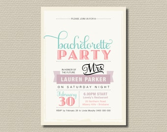 Printable Bachelorette Invitation - Vintage Poster design with sweet pastel colours (BR09)