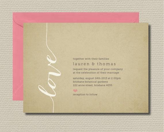 Rsvp Wedding Invitation Wording: Items Similar To Printable Wedding Invitation & RSVP