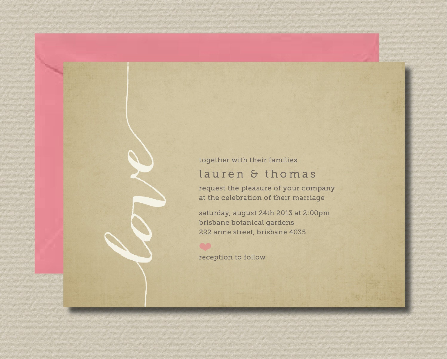 Rsvp To Wedding Invitation Wording: Printable Wedding Invitation & RSVP Love By Rosiedaydesign