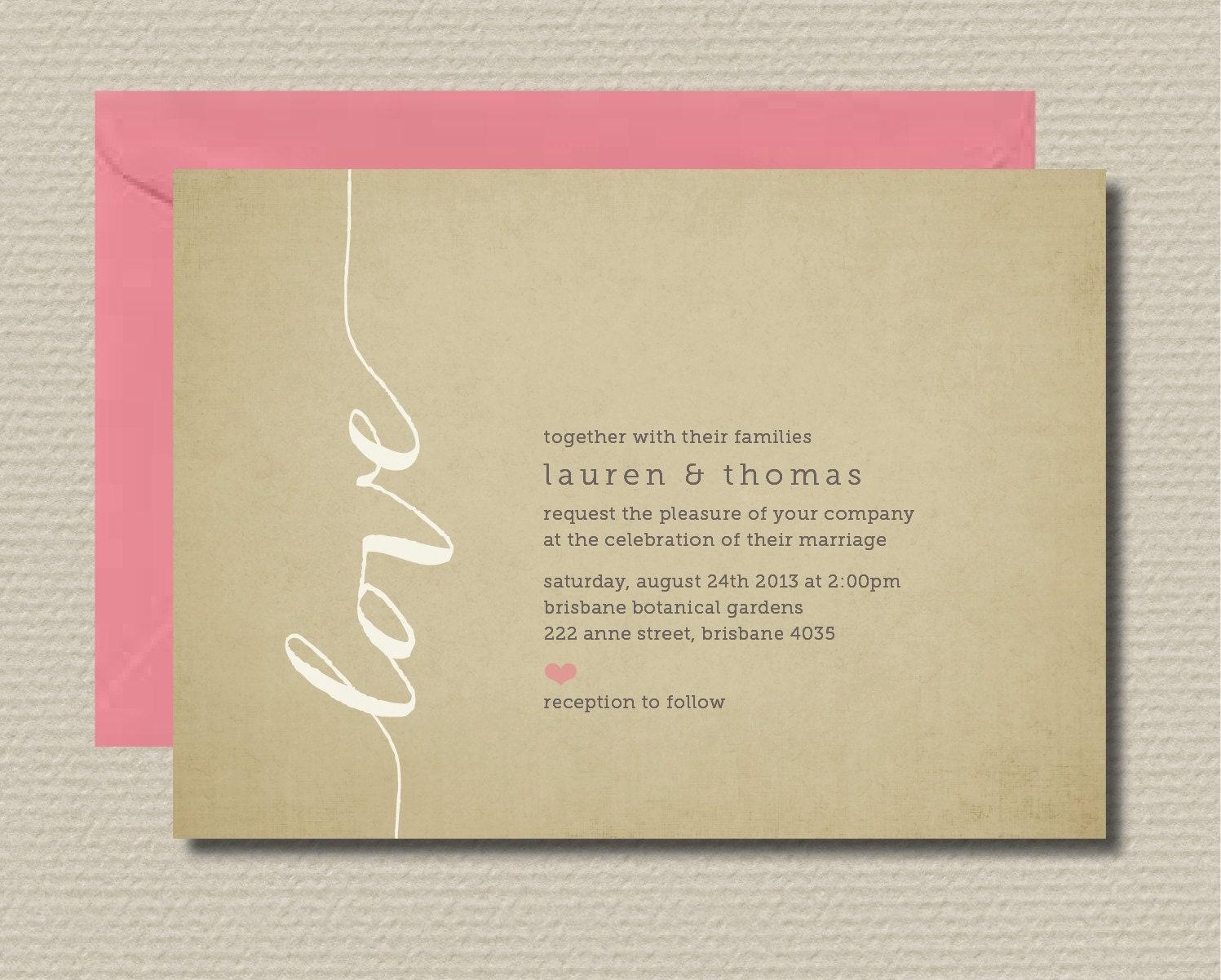 Printable Wedding Invitation Amp RSVP Love By Rosiedaydesign