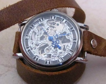 Woman Watch - Mechanical Leather Wrap Watch  FREE SHIPPING