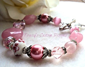 Breast Cancer Awareness Bracelet - Awareness OR Survivor Charms included.