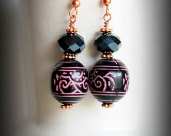 African bead and black crystal earrings