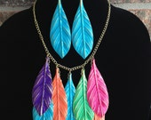 Feather Statement Necklace- Bib Necklace- One of Kind- Designs by Stalinda