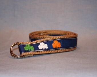 Men's and Women's Tricolor Shamrock Embroidered Belt